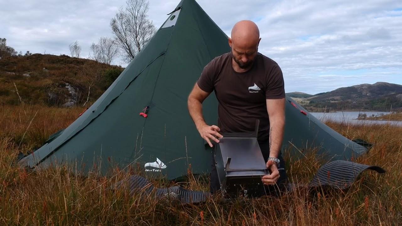 Ultralight Hot Tipi tent shelter - NorTent stove & Ultralight Hot Tipi tent shelter - NorTent stove - YouTube
