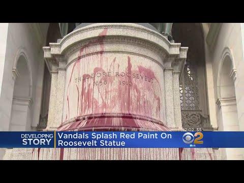 Vandals Splash Red Paint On Roosevelt Statue