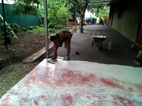 Piso marmoleado facil cemento blanco y ocre.   youtube