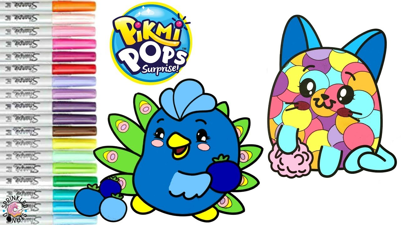 Pikmi Pops Coloring Book Page Fetti The Cat Glama The Peacock