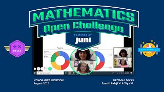 Saachi B  & Tiya M , Delta League, Honorable Mention, Juni Mathematics Open Challenge Aug 2020