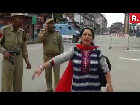 Kashmiri Pandit Woman Raises Pro-India Slogans In Srinagar