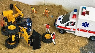 Bruder JCB Backhoe Tractor Excavator and Ambulance Crash Action for kids!