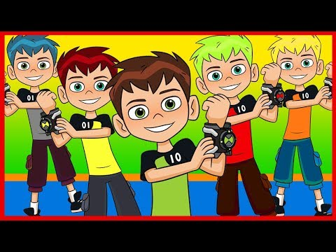 Five Little BEN 10 Jumping On The Bed - Lyrics and Karaoke - Nursery Rhymes for Children