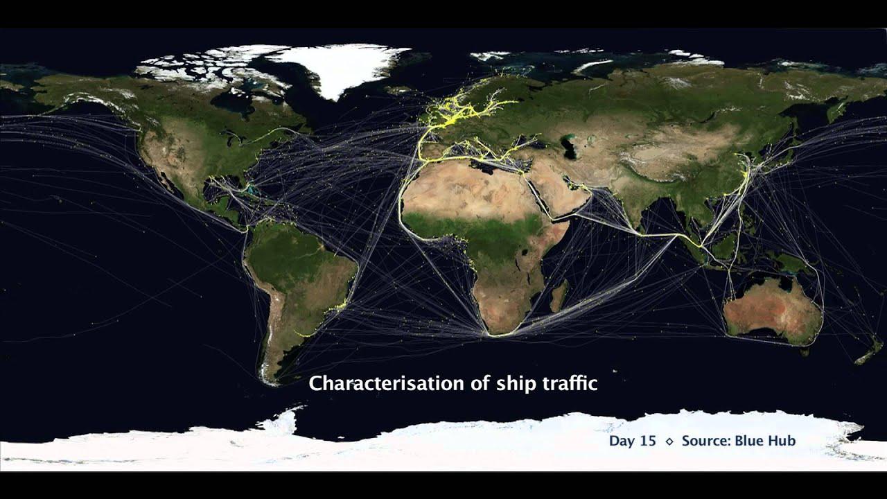 Ship Traffic Map.Jrc Reveals Global Traffic Routes Using Lrit Ship Tracking Data