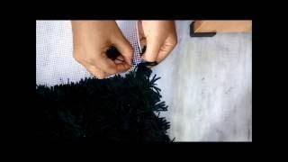 Woollen Mat/Rug,carpet, coaster without crochet pattern | Similar to Pom Pom rug