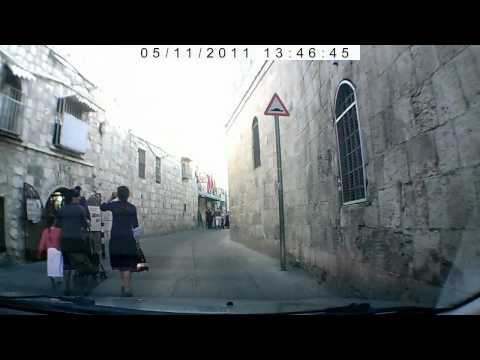 Jerusalem, Old City. Driving through