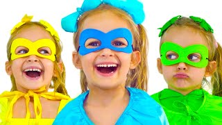 Maya is playing a superhero with her family. Superheroes - Kids Song of Maya and Mary