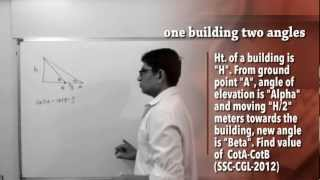Trigonometry: Height n Distance Type #3: One Building Two angles