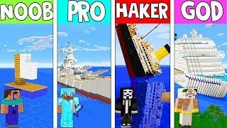 Minecraft - NOOB vs PRO vs HACKER vs GOD : BATTLE BOAT CHALLENGE  in MINECRAFT (Animation)