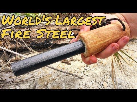 "Worlds Largest Fire Steel | Massive 1"" Ferro Rod | 11 inches Long!"