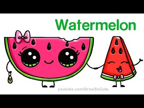 How to Draw Watermelon Easy - Cartoon Food