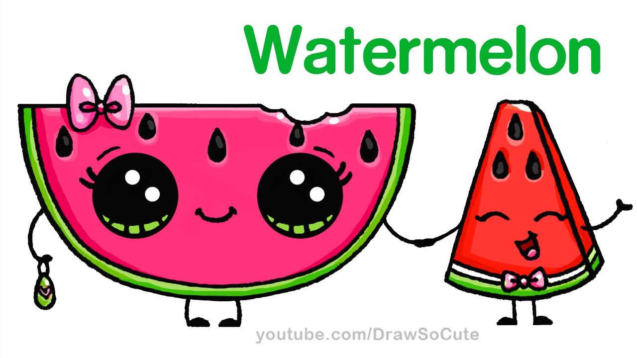 How To Draw Watermelon Slice Cute Step By Step Easy  Cartoon Food