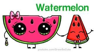 How to Draw Watermelon Slice Cute step by step Easy - Cartoon Food