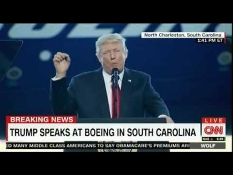 President Trump speaks at Boeing South Carolina Dreamliner 787 10