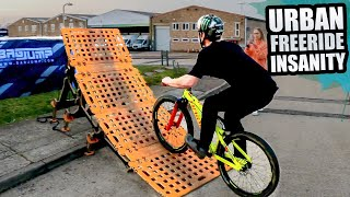URBAN MTB FREERIDE INSANITY WITH THE PORTABLE KICKER RAMPS AND AIRBAG!