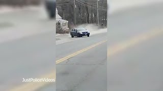 Police Chase Spike Strip Gone Wrong