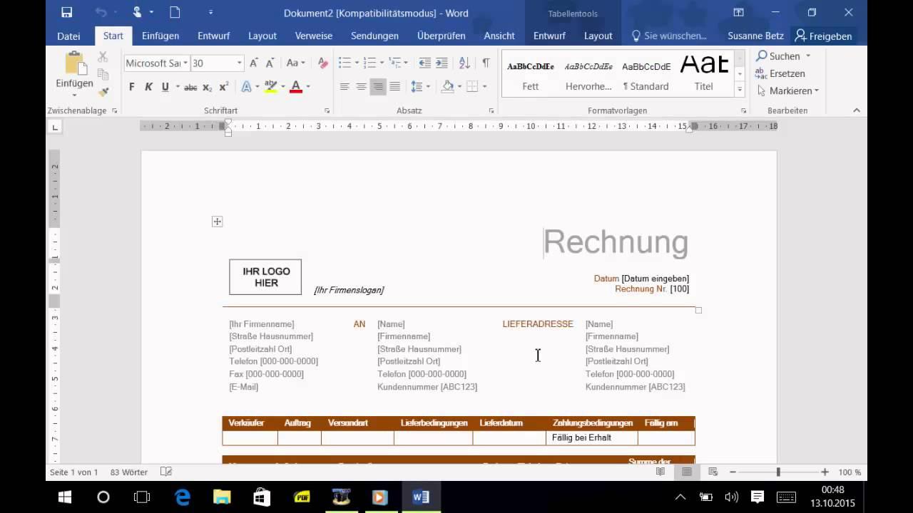 Word 2016 Einsteiger / Umsteiger Tipps | #8 Vorlage an das ...