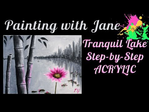 Tranquil Lake Step by Step Acrylic Painting on Canvas for Beginners