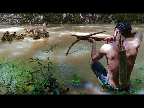 Crossbow Hunting Wild Duck In River In The Forest And Cook It For Food