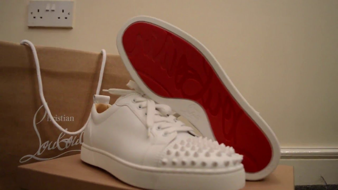 best sneakers 08bc7 f8028 CHRISTIAN LOUBOUTIN WHITE LOUIS JUNIOR SPIKES AUTHENTIC - Crepz Station