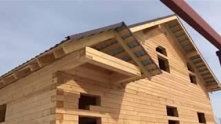 Дом деревянный, сруб из проф бруса под усадку