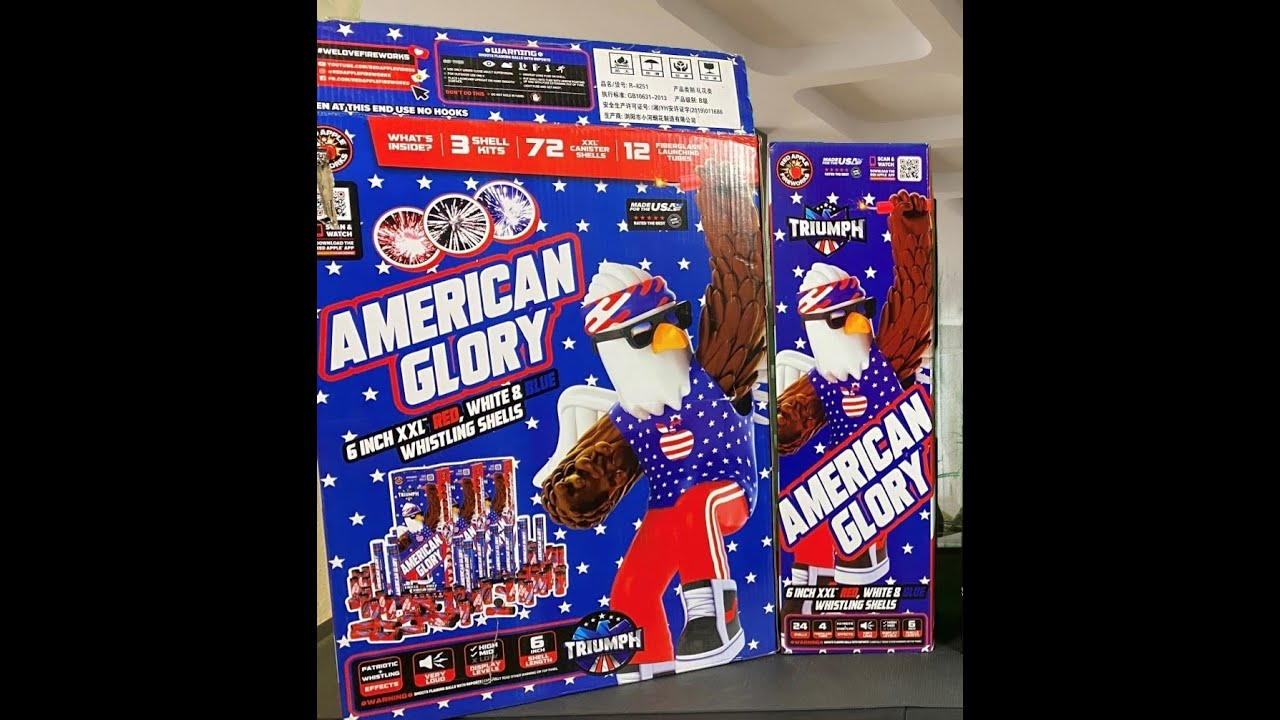 Triumph American Glory 6 Inch Whistling Canister Shell 2021- Red Apple Fireworks