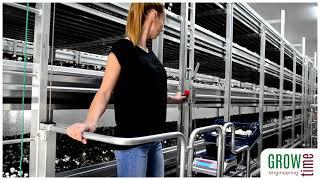 Prezentacja elektrycznego wózka do zbioru pieczarek firmy Growtime engineering.