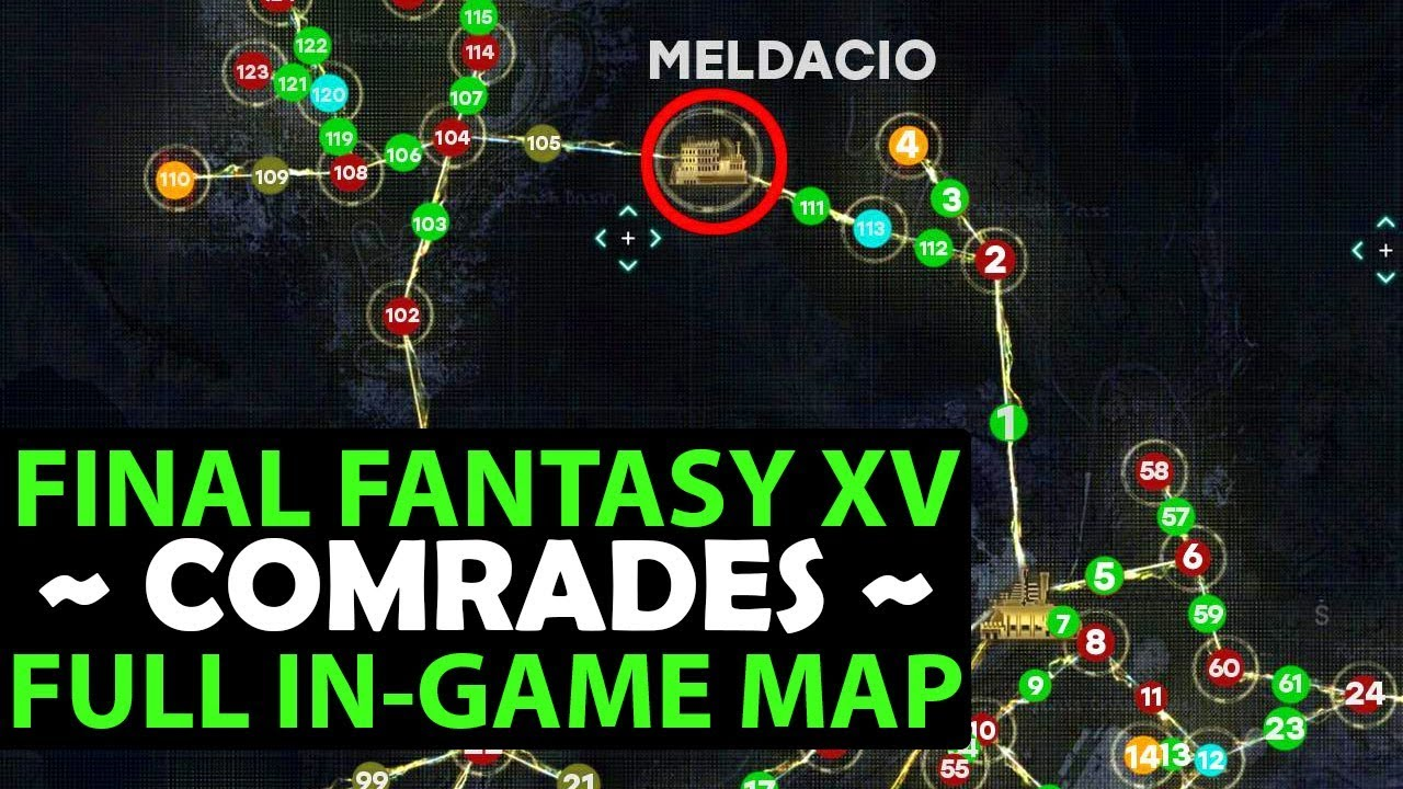 Final Fantasy 15 COMRADES - Complete Map With All Quests & POI - Extremely  Helpful!