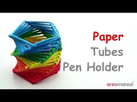 Paper Tubes Weaving Pen Stand / Pencil Holder (easy - paper tubes)
