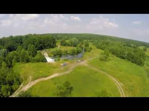 Полёт над водопадом в Зелёном Городе на реке Кудьма. Нижний Новгород