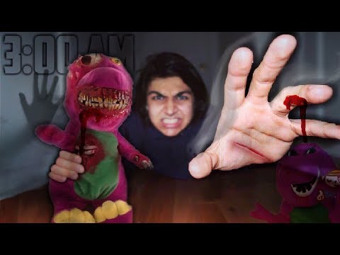 Thumbnail: 3 AM ONE MAN HIDE AND SEEK OVERNIGHT CHALLENGE WITH POSSESSED BARNEY DOLL IN A HAUNTED HOUSE!