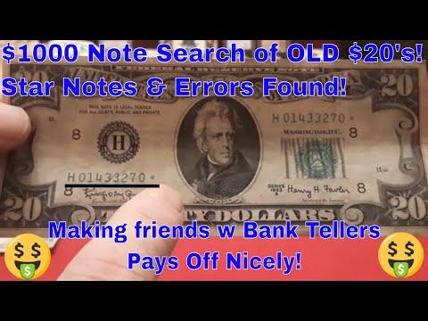 $1000 Dollar Bill Search Of Old $20 Dollar Bills! Star Notes & Errors Found!
