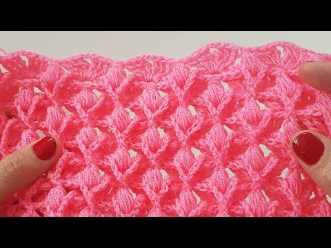 3Boyutlu Lale Battaniye/ Lif/Atkı/Şal / Crochet 3D Tulips Blanket