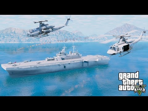 GTA 5 Mods - Marine AH-1Z & UH-1Y Launch From US Navy Wasp Amphibious Assault Ship To Attack Targets