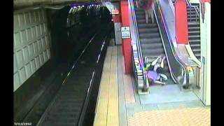 IDIOT Woman in Wheelchair tries to ride Escalator