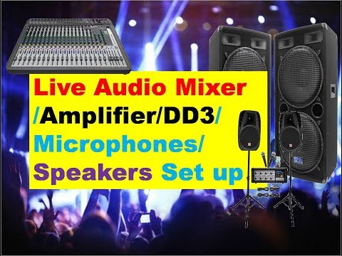 Live Audio Set Up Mixer Amplifier Speakers For Drama