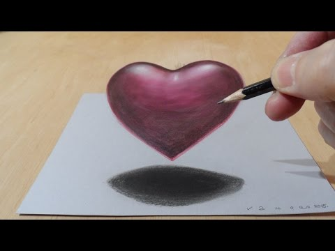 Drawing 3D Heart - Trick Art Floating  Heart - How to Draw 3D Heart