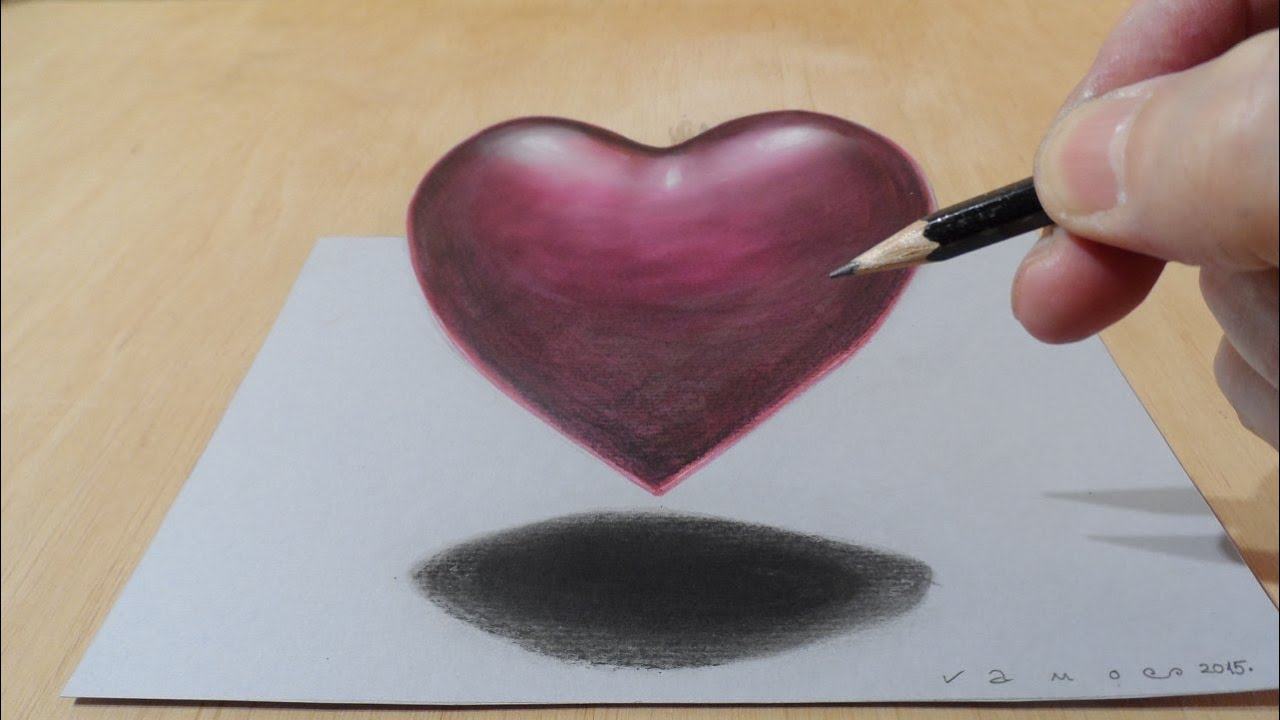 Drawing 3d Heart Trick Art Floating Heart How To Draw