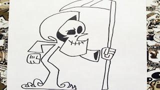 Como dibujar a la muerte puro hueso | how to draw grim reaper | como desenhar o grim