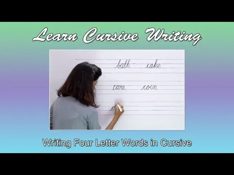 Four Letter Words   Writing 4 Letter Words In Cursive   Abc Phonics   Cursive Writing Practice