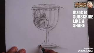 Sad angel girl drawing