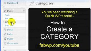 Wordpress Tutorial - How to Create a New CATEGORY