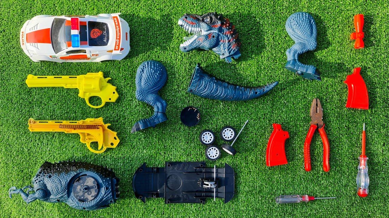 Mobil Polisi, T-Rex 🦖 dan Mainan Tembak Tembakan - Assembling Toys