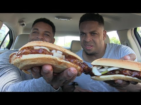 Eating McDonald's McRib Sandwich @Hodgetwins