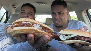 Eating McDonald's McRib Sandwich @Hodgetwins
