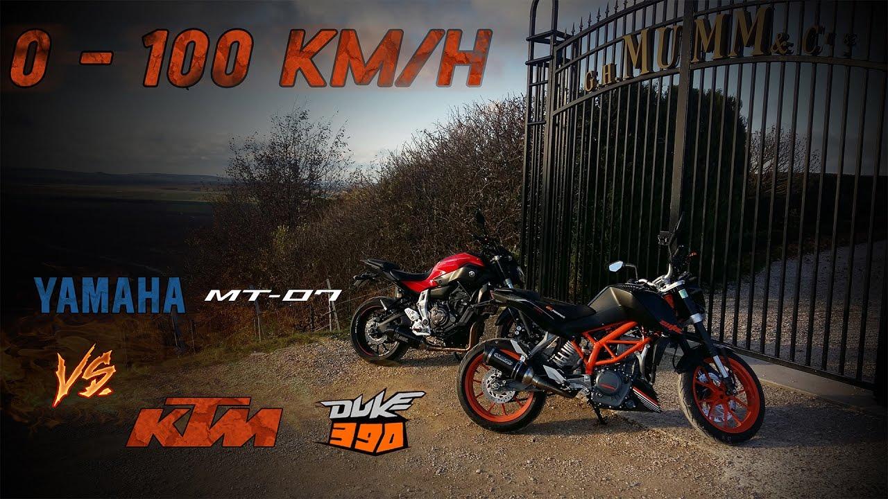 yamaha mt 07 vs ktm duke 390 0 100 km h a2 youtube rh youtube com