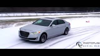 Dynamic Tracking Drone Reel  Car and Driver Winter Driving Tips project  NY, NYC, CT, MA, NJ Aerial
