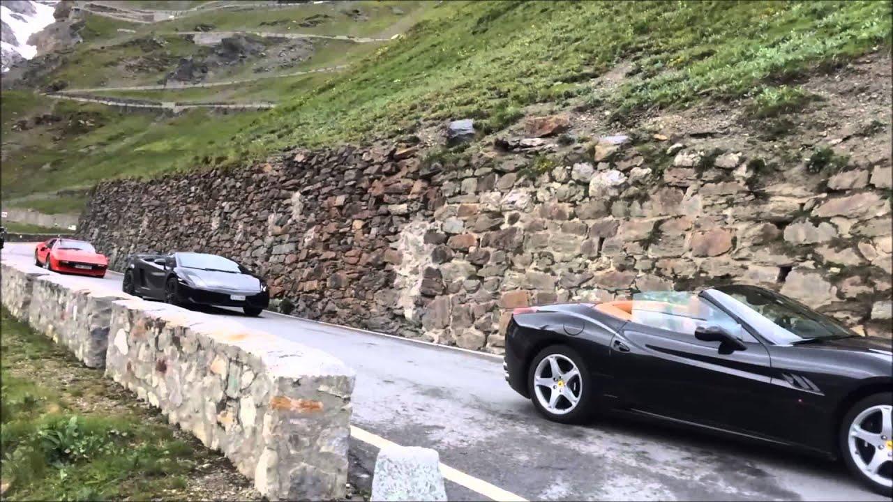 Hire Ferrari California T >> Ferrari, Lamborghini: Drive over Stelvio Pass - YouTube