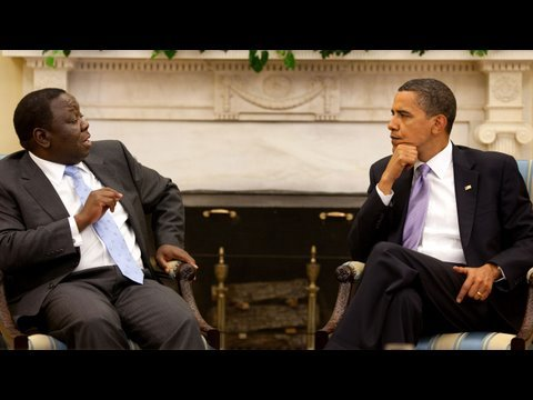 President Obama and Prime Minister Tsvangirai of Zimbabwe
